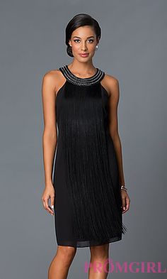 Short Fringe Black Shift Party Dress at PromGirl.com