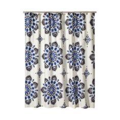 "Mudhut Medallion Shower Curtain - Blue/Brown (72x72"")"