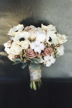 cotton and flower bridal bouquet we ❤ this! moncheribridals.com #weddingbouquets #rusticwedding