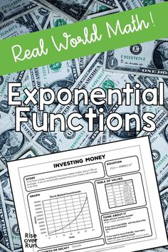 Real world exponential function practice, like investing money! Explore exponential functions with multiple representations with these 8 activity sheets. Students fill in the missing information by completing a story, equation, graph, and table of values. Math For Kids, Fun Math, Math Class, Money Activities, Math Resources, Growth And Decay, Exponential Growth, Secondary Math, Math Word Problems