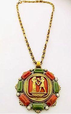 Vintage Bakelite Egyptian Medallion Gold Tone Necklace  | eBay