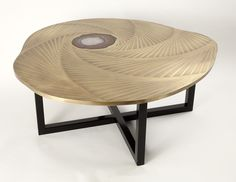 TOURBILLON COFFEE TABLE Bronze top, agate and black steel base