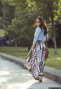 Maxi Dress and Jean Jacket