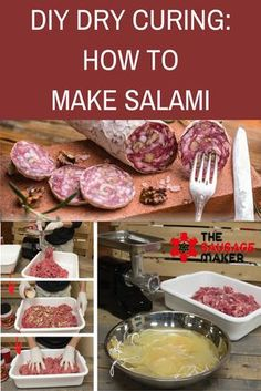 Dry Curing: How to Make Salami At-home Dry Cured Salami Recipe from the Sausage MakerAt-home Dry Cured Salami Recipe from the Sausage Maker Salami Recipes, Homemade Sausage Recipes, Charcuterie Recipes, Jerky Recipes, Meat Recipes, Cooking Recipes, Sushi Recipes, Dried Sausage Recipe, Gastronomia