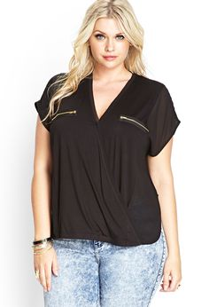Surplice Zippered Blouse | FOREVER21 #F21Plus #SummerForever
