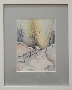 Watercolor Landscape Paintings, Watercolour Painting, Painting & Drawing, Watercolor Birthday Cards, Watercolor Journal, Winter Painting, Art Pictures, Photos, Watercolor Techniques