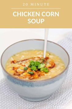 A thick and creamy Chinese chicken & corn soup recipe that will be on the table in just 20 minutes... and tastes even better than your local Chinese takeout version! #chinese #chicken #corn #soup #egg #drop #recipe #thermomix #conventional #healthy