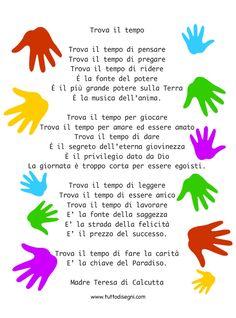 trova-il-tempo-poesia Santa Teresa, Creative Kids, Nursery Rhymes, Slogan, Favorite Quotes, Prayers, Inspirational Quotes, Education, Words