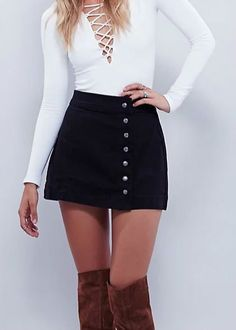 There's more than one good reason why you should buy Button Front Denim skirt now. More collections at AZBRO.com