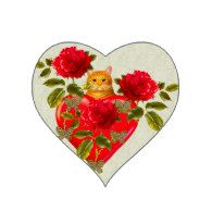 Kitty Cat Valentine Sticker and more Love and Valentine's Day Heart Shaped Stickers #valentine #Valentine'sDay #ValentineStickers #Gravityx9