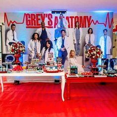 13th Birthday Parties, 15th Birthday, Birthday Party Decorations, Happy Birthday, Medical Party, Nurse Party, Greys Anatomy Funny, Grey Anatomy Quotes, Greys Anatomy Characters