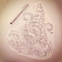 Nautical tattoo idea - lost my way - ship - kracken Leg Tattoos, Body Art Tattoos, Ship Tattoos, Tatoos, Arrow Tattoos, Word Tattoos, Tattoo Sketches, Tattoo Drawings, Tatuaje Old School