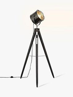 Buy Grey John Lewis & Partners Jules Wood Marine Head Floor Lamp from our Floor Lamps range at John Lewis & Partners. Black Floor Lamp, Floor Lamps, Standard Lamps, Grey Wood, Tripod Lamp, John Lewis, Living Spaces, Living Room, Chrome