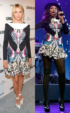Two pretty ladies, one printed dress! Who wore this look best: Julianne Hough or Jennifer Hudson?!