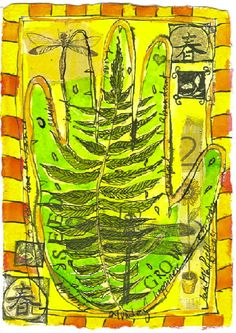 botanical hand - mixed media on paper  janet taylor pickett