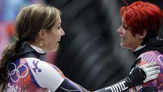 Noelle Pikus-Pace (left) greets teammate Katie Uhlaender after Uhlaender's third run. Go Usa, Winter Olympics, Olympic Games, Running, Skeleton, Sports, Third, Women, Winter Olympic Games