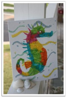 Mr. Seahorse - tissue paper art project @Becky Thayer and @Maegan Mcguire need to see this