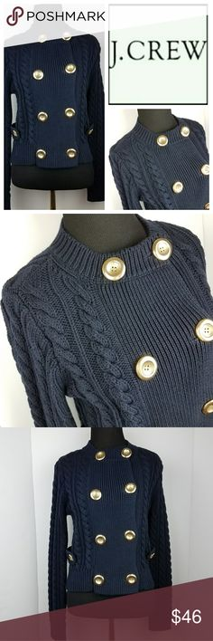 J. Crew Navy Cable Knit Sweater Cardigan Gold Gorgeous knit and stitching detail. Vertical braided effect. 8 gold buttons on the front and 2 at the waist. 100% Cotton. Great condition. J. Crew Sweaters