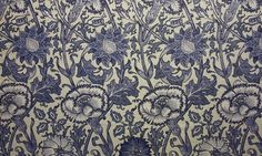 Pink and Rose Fabric A large floral pattern fabric in china blue and cream.  fabricsandpapers.com