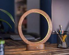 Led lamp RING, minimalist desk lamp, wooden lamp #WoodenLamp