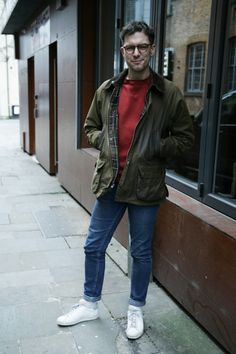'We loved James\u2019s urban street style in Liverpool - white trainers and light denim teamed with a casual sweater and finished off with a vintage Barbour Bedale waxed jacket in olive.\u00a0'