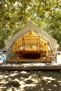 El Capitan Canyon, where you can stay in safari tents on the California coast.