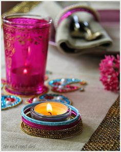 Jazz up an IKEA votive holder with Bangles, Diwali decor