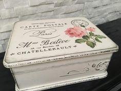 Vintage Shabby Chic, Vintage Metal, Decoupage, Hat Boxes, Altered Boxes, White Paints, Chalk Paint, Decorative Boxes, Arts And Crafts
