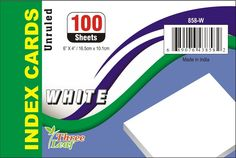 """UNRULED INDEX CARD- WHITE, 4"""""""" X 6"""""""", 100CT Case Pack 40"""