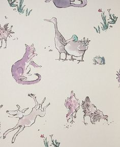 Quentin's Menagerie Wallpaper Wonderful Quentin Blake designed wallpaper of lilac farmyard animals on a light cream background