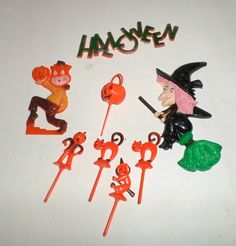 Vintage Halloween Cake Topper Set Witch Cat by carriesattic