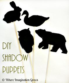 Children's Scholarship Fund: Simple DIY Shadow puppets to encourage imaginative play and explore light from Where Imagination Grows Shadow Theme, Shadow Art, Shadow Play, Nocturnal Animals, Woodland Animals, Groundhog Day, Preschool Groundhog, Preschool Science, Dramatic Play