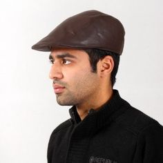 Brown Leather Golf Cap