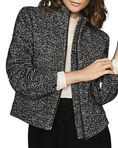 Reiss Textured Zip-Up Jacket - Black/White Reiss Fashion, Blazer Outfits, Jackets Online, World Of Fashion, Zip Ups, Jackets For Women, Texture, Black And White, Fabric