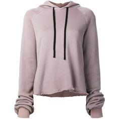 Unravel Project raw hem hoodie ($625) ❤ liked on Polyvore featuring tops, hoodies, sweatshirts, sweatshirt hoodies, purple top, hoodie top, purple hooded sweatshirt and purple hoodie