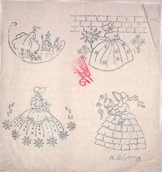 Vintage Deighton embroidery transfer - 4 x assorted Crinoline Lady motifs  in Crafts, Embroidery, Patterns | eBay