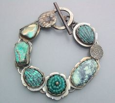 Turquoise and Apatite Gem Ball Bracelet 2 by Temi on Etsy, $270.00