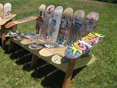 Adirondack Bench using Repurposed Skateboard Decks