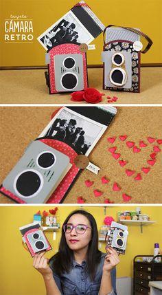 Nuevo tutorial: Cámara retro de papel para guardar una foto y darle un detalle especial a ese ser querido en San Valentín. Tiene doble lente como las cámaras antiguas.