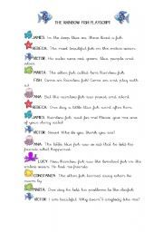 English worksheet: The Rainbow fish Playscript!