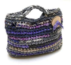 Gray Purple Crocheted Purse ---Fabric Crocheted Handbag --- with a large handmade wooden button