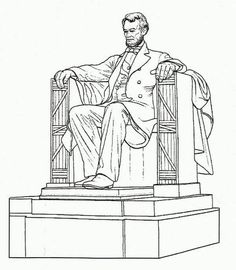 Abraham Lincoln, : A Realistic Drawing of Abraham Lincoln Memorial Coloring Page