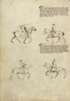 Equestrian Combat with Sword Artist/Maker(s): Fiore Furlan dei Liberi da Premariacco, author [Italian, about 1340/1350 - before 1450] Date: about 1410 Medium: Tempera colors, gold leaf, silver leaf, and ink on parchment Dimensions: Leaf: 27.9 x 20.6 cm (11 x 8 1/8 in.) Object Number: 83.MR.183.43v Department: Manuscripts