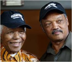 Nelson Mandela and Jesse Jackson meet up in Johannesburg, South Africa