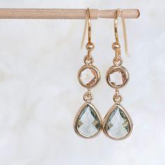 Champagne Charcoal Grey Drop Dangle Earrings, 24K Gold Vermeil Ear Hook, Wedding Jewelry
