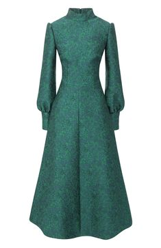 Women& green dress with a stand-up collar A LA RUSSE - buy for 79350 rub. in the TsUM online store, art. Simple Dresses, Cute Dresses, Beautiful Dresses, Short Dresses, Daytime Dresses, Evening Dresses, Foto Fashion, Maxi Outfits, Royal Dresses