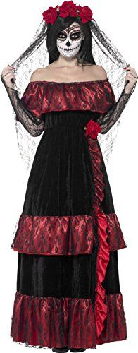 Smiffy's Women's Day of the Dead Bride Costume, Dress and Rose Veil, Day of the Dead, Halloween, Size Deluxe dress with rose veil From Smiffy's day of the dead range Couples Halloween, Halloween Bride, Halloween Costume Contest, Halloween Fancy Dress, Couple Halloween Costumes, Costume Ideas, Halloween 2017, Halloween Themes, Happy Halloween