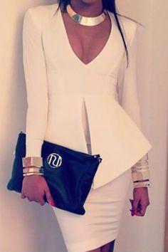 Cheap Sexy V Neck Long Sleeves Split White Polyester One-piece Sheath Mini Peplum Dress