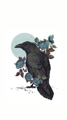 Wallpaper art illustration flower ideas for 2019 Art And Illustration, Illustrations, Corvo Tattoo, Rabe Tattoo, Raven Art, Blue Raven, Wow Art, Art Design, Art Inspo