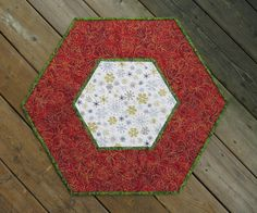 Inspired by Fabric: 12 Days of Christmas: Day 11  turn a rectangle into a hexagon for this placemat